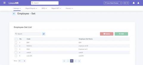 Employee Set pada Software Payroll LinovHR