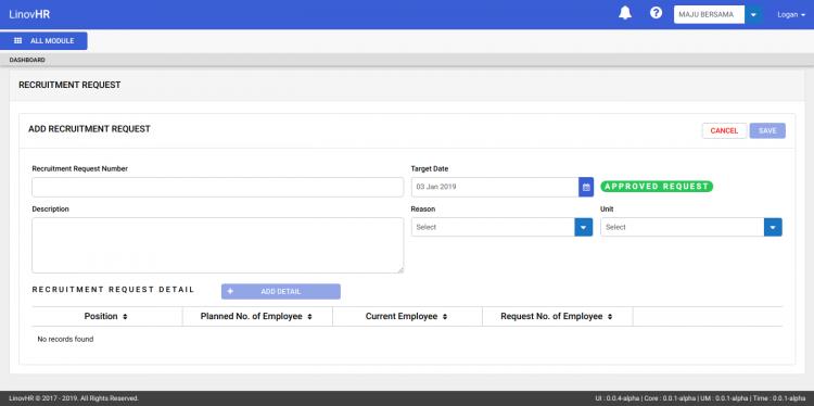 Recruitment Request Form di Modul Recruitment LinovHR